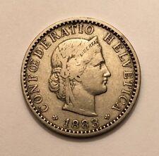 1883 B Switzerland 20 Rappen KM# 29 Nickel Coin VF 30-33
