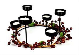 WROUGHT IRON Votive Candelabra Centerpiece Red Berry Ring Six Tea Light Candles