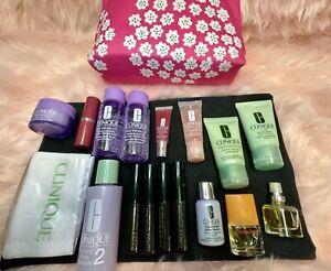 Clinique Multi Travel Size 17 Items+ case Mascara lipstick m/u remover perfume