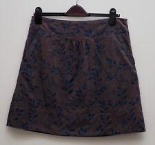 White Stuff skirt size 12 grey cord needlecord blue leaf birds print leaves