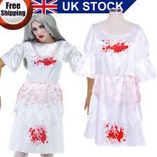 Ladies Zombie Dead Bloody Maid Horror Carnival Fancy Dress Costume White 8 10