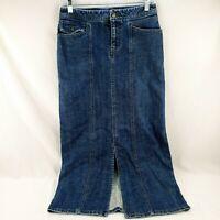 Eddie Bauer Women's Size 2 Long Blue Denim Skirt Modest Jeans Skirt