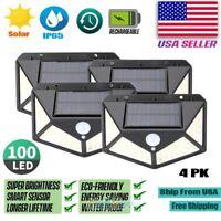 4x Outdoor 100 LED Solar Wall Lights Security Motion Garden Yard Path Flood Lamp