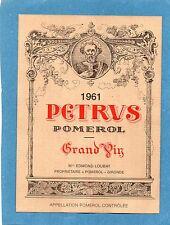 POMEROL 1ER GCC VIEILLE ETIQUETTE CHATEAU PETRUS 1961 1.5 L RARE     §01/01/17§