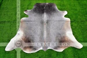 Large (5 X 5.8 ft.) EXACT As Photo, 100% Natural Gray COWHIDE Area Rug | C373
