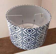 New Blue White Tile Pendant Light Lamp Ceiling Shade Fabric Drum Navy Quatrefoil