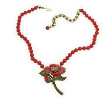 """Heidi Daus """"Budding Romance"""" Crystal and Enamel Drop Necklace Coral New With Tag"""