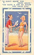 POSTCARD  COMIC   HUMORESQUE   Beach  Pretty  Girl   Adam