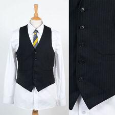 Vintage pour homme gilet gilet sans manches noir à fines rayures rayé smart style s