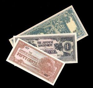 LOT MALAYA JAPANESE GOVERNMENT 10 CENTS 1 10 DOLLARS M4 M5 M7 JIM WWII 1942
