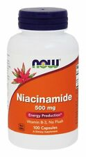 NOW Foods Niacinamide (B-3) 500mg 100 Caps Made In USA FREE SHIPPING