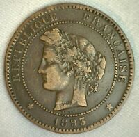 1893 A France 10 Centimes World Coin Very Fine Bronze Coin