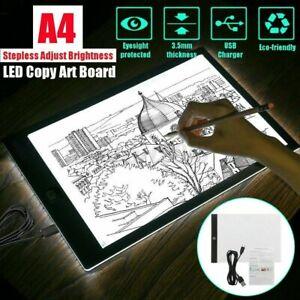A4 LED Drawing Board Tracing Light Box Stencil Tattoo Copy Artist Craft Table UK