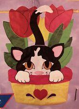 New listing Cat In Tulip Kitten Pet Porch Flower Windsculpt Applique Large Yard Flag New