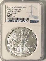 2021 (W) American Silver Eagle - Heraldic Eagle Type 1 - NGC MS-70