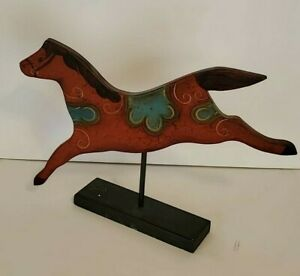 Primitive Colonial Folk Art Red Horse on Stand Wood Figural Repro