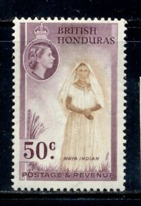 BRITISH HONDURAS 152 SG187 MH 1953-57 50c QEII Defin Maya Indian Cat$18