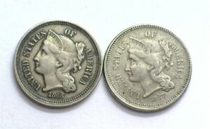 1867 & 1868 3 CENT NICKEL PAIR ABOUT UNCIRCULATED