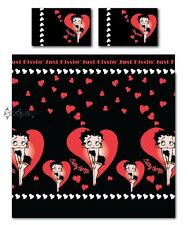 Betty Boop Just Kissing Love Hearts Double Duvet Cover Bed Set