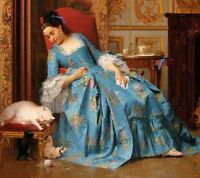 Art Oil painting Joseph Caraud The Ball of Yarn portrait young noblelady & cats