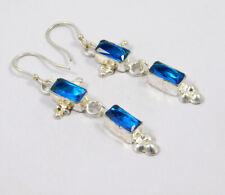 Plated Handmade Earring Jewelry Mjc7713 Swiss Blue Topaz Quartz .925 Silver