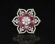 Cubic Zirconia Ruby Cocktail Ring White Gold Plated 42 RR 4