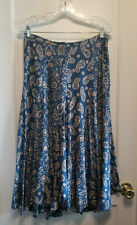 Banana Republic Floral Flare Midi Skirt, Blue, Silk/Cotton, Size 4, Pre-owned