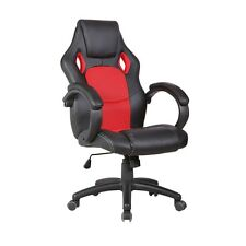 Red Executive Swivel Race Car Style Leather Office Chair Bucket High Back Seat
