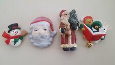 Lot Of 4 Fun Christmas Pins, Santa Face,Snowman,Old Time Santa,Jingle Bells