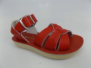 Sun-San Salt Water Sandals, Swimmer Red Leather Toddler SZ 6 T,  DISPLAY   15901