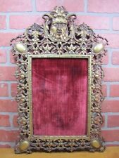 Antique 19c HORNED DEVIL Decorative Arts Lrg Bronze FRAME Picture Mirror Artwork