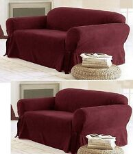 SOLID SUEDE Couch Covers 3 Piece Burgundy  slipcover Set = Sofa Loveseat Chair