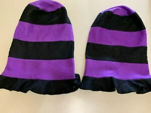 Lot of 2 Tall Black and Purple Felt Party Hats New