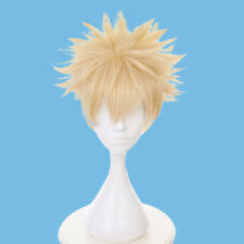 Short Yellow Boy Wig Cool Men Head Decoration Bakugo My Hero Flutty Hair Cosplay