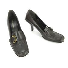 Enzo Angiolini High Heels 8.5 Tasha Brown Leather Gold Buckle Square Toe Pumps