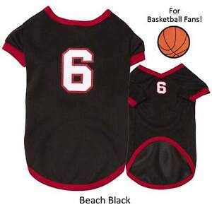 Game Day Jersey #6 Dog Puppy Tee T-Shirt Sports Basketball Black Red Heat Large