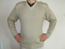 MILITARY NATO JUMPER PULLOVER  V NECK  WITH EPAULETTES, ELBOW PATCH SANDY COLOUR