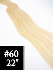 """#60 White Blonde 22"""" Tape in Remy Human Hair Extensions - Skin Weft Straight"""