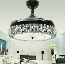 """42"""" Retractable Blade Crystal Chandelier Remote Invisible Ceiling Fan Led Light"""