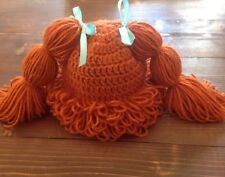 Crochet Cabbage Patch Kids Hat / Wig *Red Hair* ~ Customize size, hair and bows