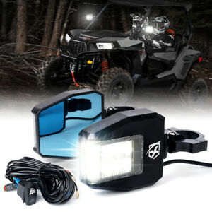 Xprite UTV Rear View Side Mirrors Kit with LED Rock Light for Polaris RZR Can-Am
