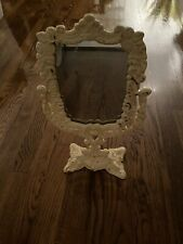 Painted Metal Counter Mirror 14�x8� Off White Vintage