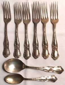 366 grams George Shiebler Gothic Lot Forks Soup Teaspoon Sterling Silver Spoon