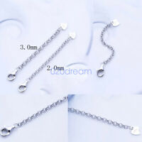 Sterling Silver Safety Chain Extender Necklace/Bracelet Extension Clip on Clasp
