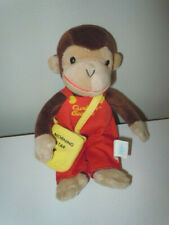 """Curious George Plush Doll Red Overalls Morning Star Newspaper Bag 9"""" Toy Network"""
