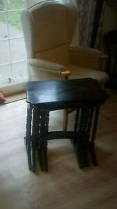4  CHINESE  BLACK LACQUER TABLES ANTIQUE 1800s !