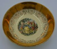 Vintage Royal China Colonial Courting Couple 22 Kt. Serving Bowl Gold Stunning!