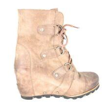 10.5 - Sorel Joan of Arctic Ash Brown Lace Up Waterproof Wedge Mid Boots 0209SB