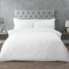 Geo Tufted White Bedding Luxury Duvet Cover and Pillowcase Set All Sizes