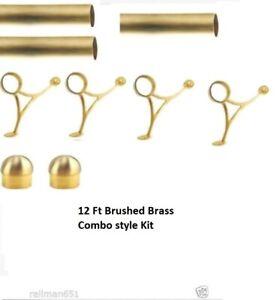 Combo Mount Bar Foot Rail Tubing Kit - 12 ft Long Satin Brass Bar Foot Rest